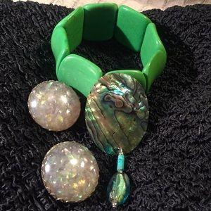 Vintage earrings, brooch, bracelet